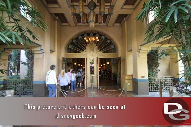 Heading inside to visit the lobby of the Hollywood Tower Hotel.