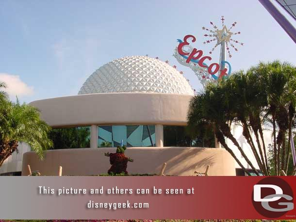 In 2002 Mickey and the brooms were behind Spaceship Earth.