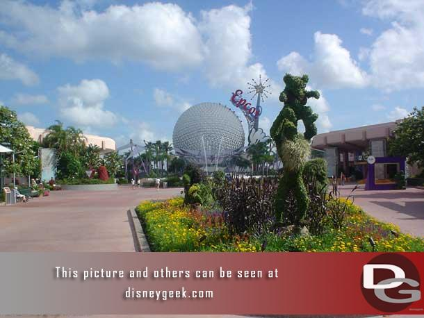 In 2004 the Lion King occupied the planter as you leave Future World and head toward World Showcase.