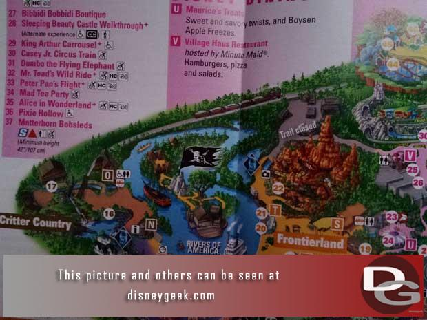 1.15.16 - The new park guidemaps show the Big Thunder Trail closed.