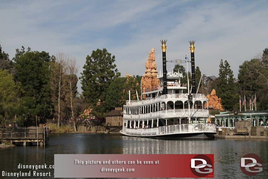 1.29.16 - No visible progress on the Rivers of America this visit. The Mark Twain is now in port and open to walk around the Columbia has been moved to the Harbour.