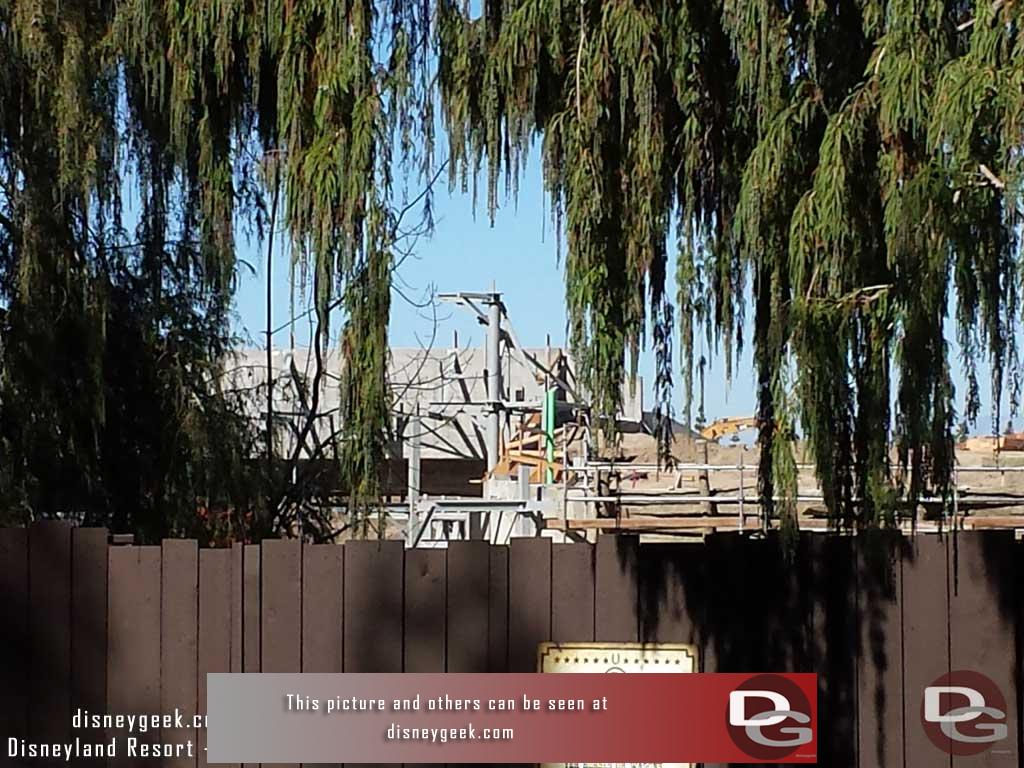 10.21.16 - Moving inside the park, a look from the Big Thunder Trail only this week, Critter Country was closed.  You can see steel for the rock work support is taking shape.