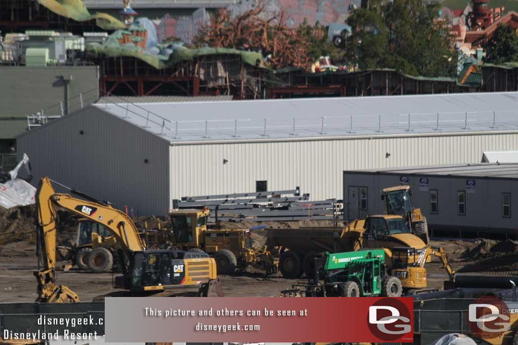 12.30.16 - Moving to the right you can see steel being staged there. In the background the new backstage building looks complete.