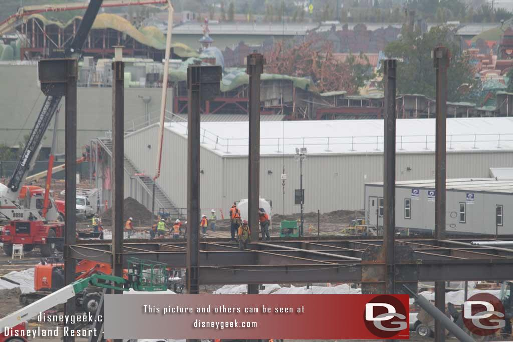 2.10.17 - In the foreground the steel support structure for the large show building is being assembled.