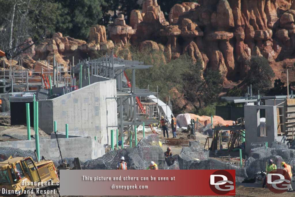 2.24.17 - Steel awaiting rock work on the Frontierland facing side.