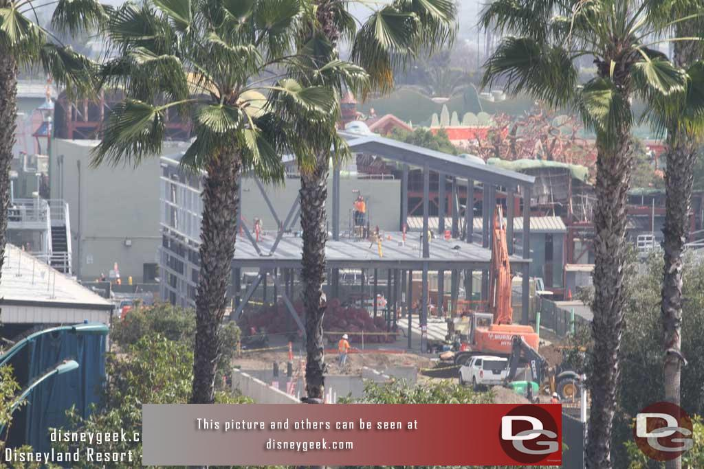 3.17.17 - Starting off with a look at the far corner of the site nearest Toontown where a two story building is moving along.  Looks to be a backstage support building.