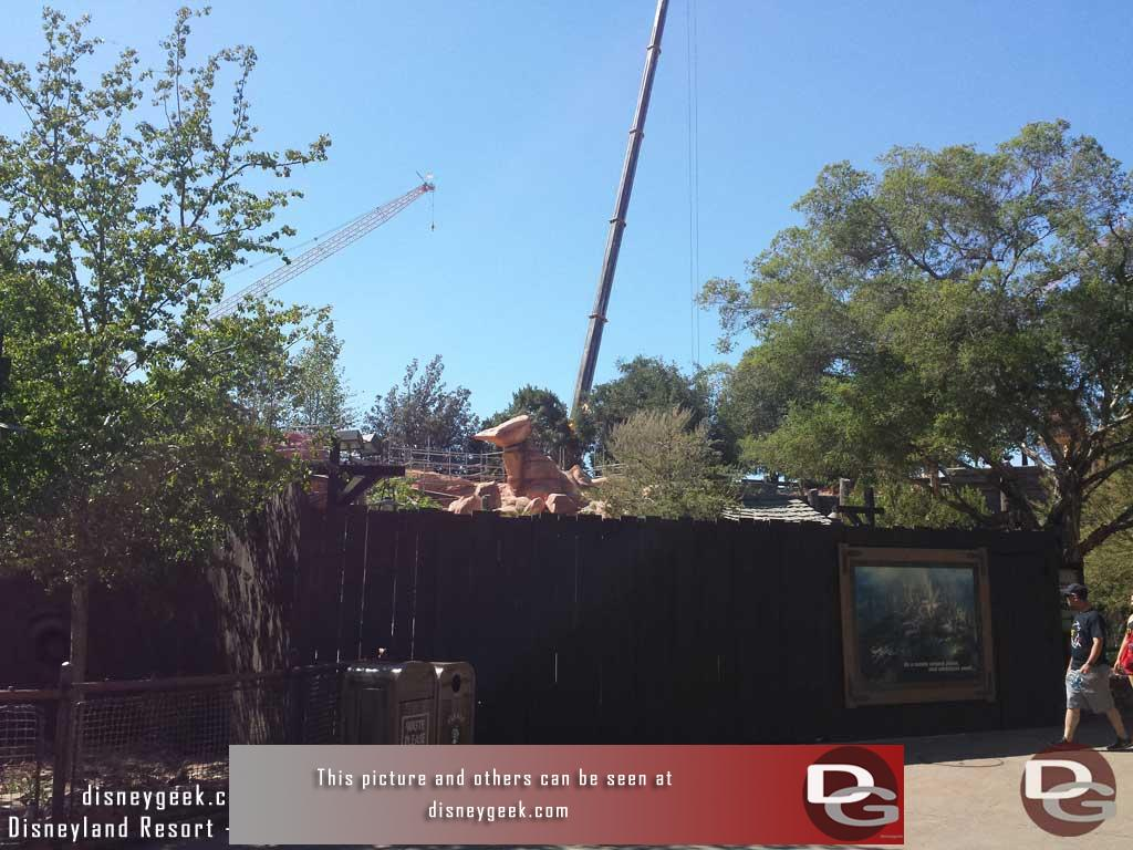 6.16.17 - The Big Thunder trail reopened (check the full picture set for a look around), here is a look at some of the areas still being worked on.  This wall blocks the Frontierland walkway toward Star Wars.