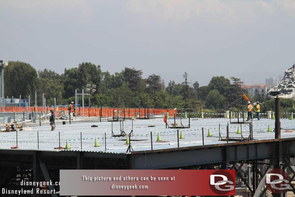 8.11.17 - On the roof they are preparing to pour concrete on the final portion to finish it off.  The decking looks done.