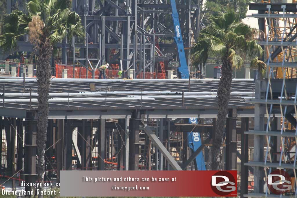 8.11.17 - Millennium Falcon building roof looks to be going on.