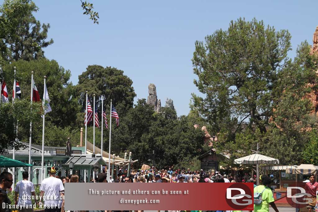 08.03.18 - Moving into the park the view from Frontierland of the new formations sticking up above the tree line.