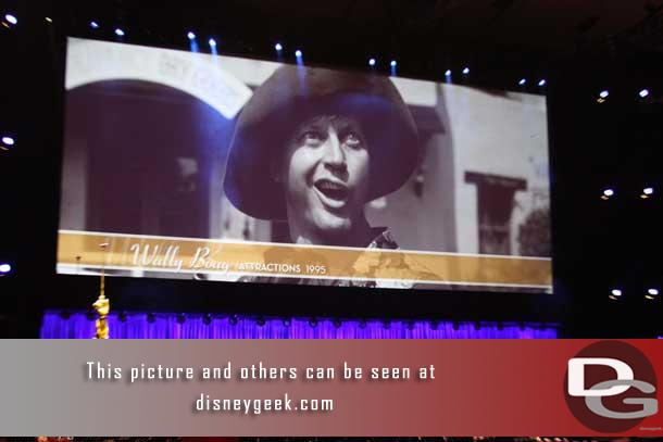 While waiting for the ceremony to begin they had images of the Legends up on the large screen.