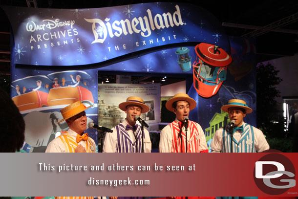 I was there for the official opening of the exhibit.  The Dapper Dans of Disneyland provided pre-show entertainment.