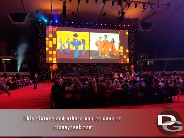 On Sunday morning the D23 Expo Arena hosted a presentation entitled: Celebration of An Animated Classic: The Lion King.  As we waited for the program to begin some Disney Animation slides are being shown.