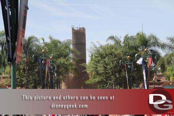 The Downtown Disney sign is underwraps for some new paint.