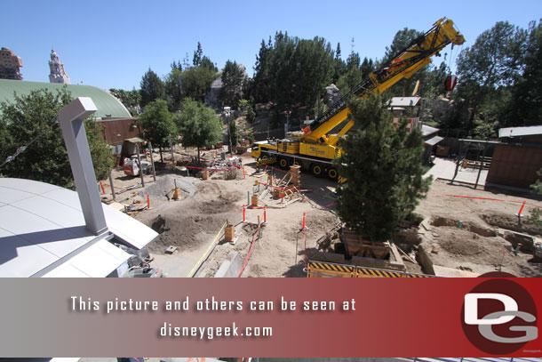 A large crane is in place to move the trees around.