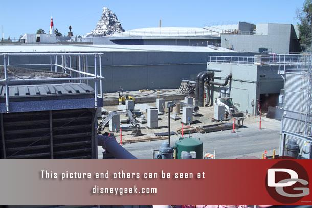 Work continues on the chiller placement backstage in Tomorrowland.