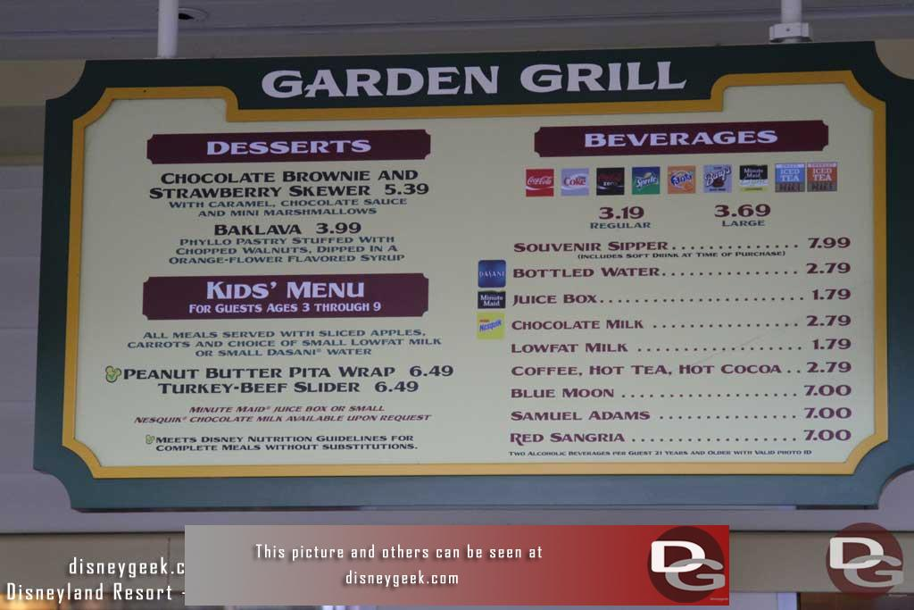 Disneygeek disneyland resort guide dining paradise garden grill for The garden grill menu