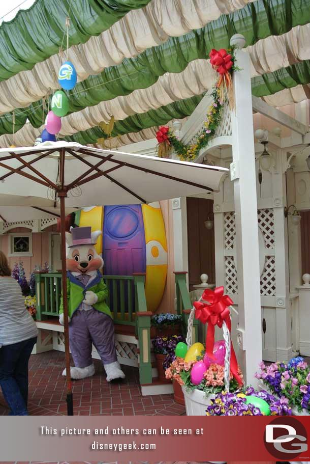 The Easter Bunny was set up in Town Square for pictures