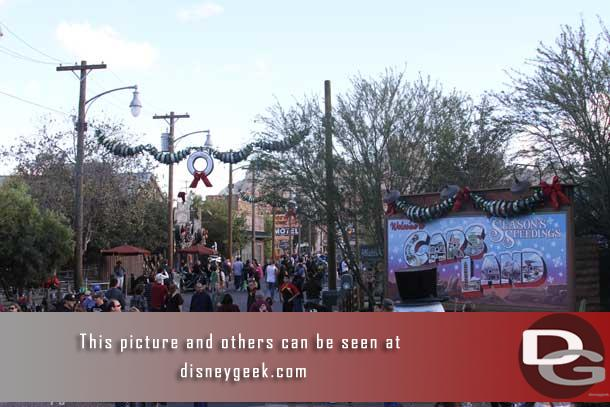 Cars Land celebrated its first Christmas season in 2012 and the Cars gang decorated most of the town.