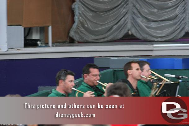 The band warming up (nice to see a live band at a Disney stage show again)