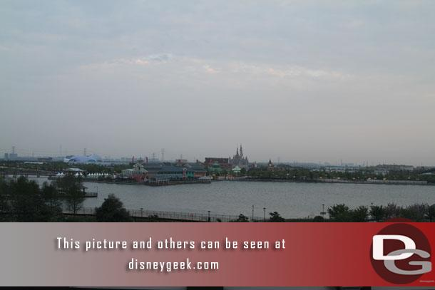 The view I woke up to, just before 6am from my room on the 6th floor of the Shanghai Disneyland Hotel.