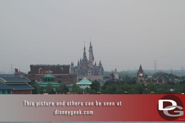 A closer look at the Enchanted Storybook Castle in the distance.