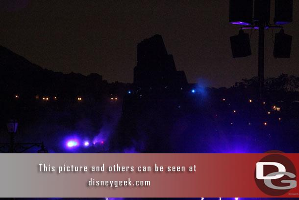 Fantasmic! takes place in the round on the Mediterranean Harbor.  I watched from near Lido Isle