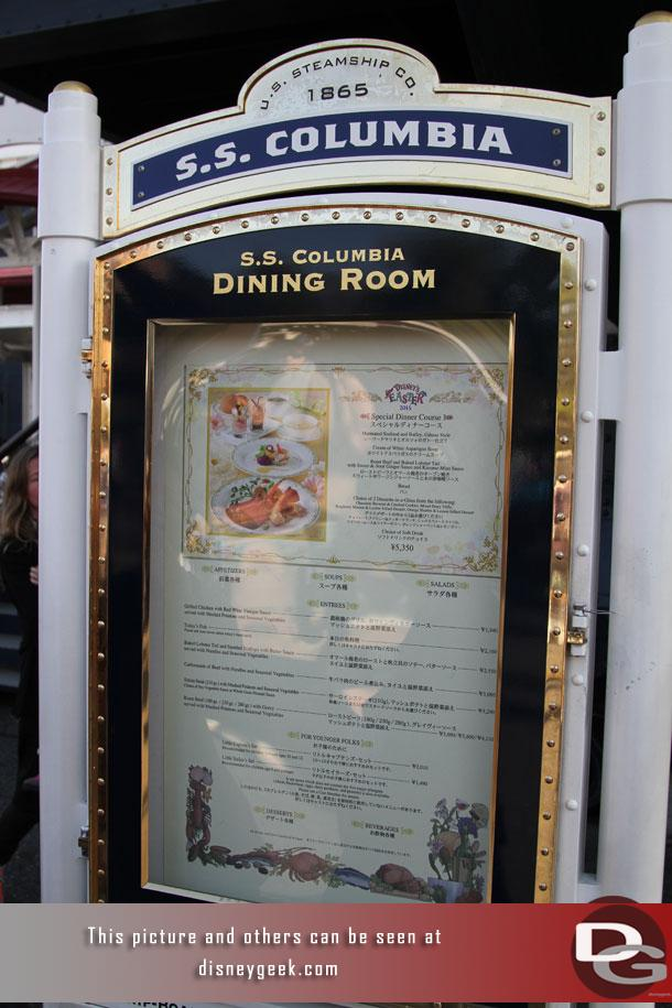 Out front menus for the main dining room