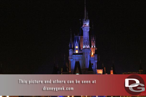 In position in front of Cinderella Castle for the shows.