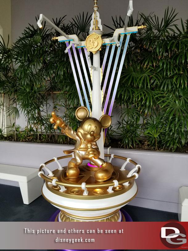 A singing golden Mickey in Tomorrowland near Space Mountain.  Guessing it was because Showbase is also near by.
