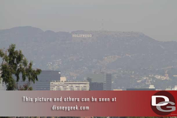 I went to the top of a garage at the University of Southern California to watch the Space Shuttle Endeavour fly around the LA area.  While waiting a test picture of the Hollywood sign.