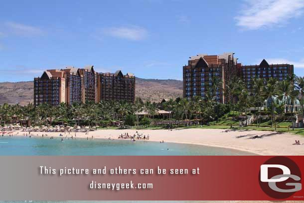 This section contains pictures of Aulani from across the lagoon.