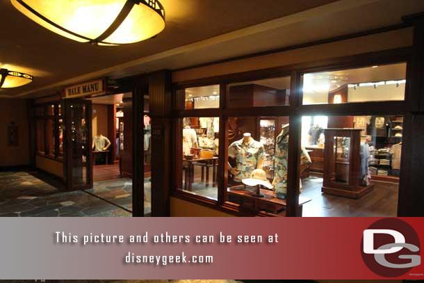 There are two stores located off the Lobby of Aulani, toward the Ewa Tower (left as you enter). There is also one out by the pool.  The smaller store in the lobby is the Hale Manu.  This store featured higher end products.
