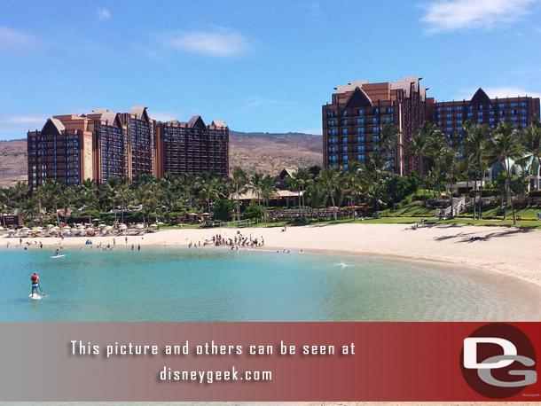 Aulani has two towers that contain the guest rooms and villas.  In this picture the tower on the left is the Waianae and the right is the Ewa.