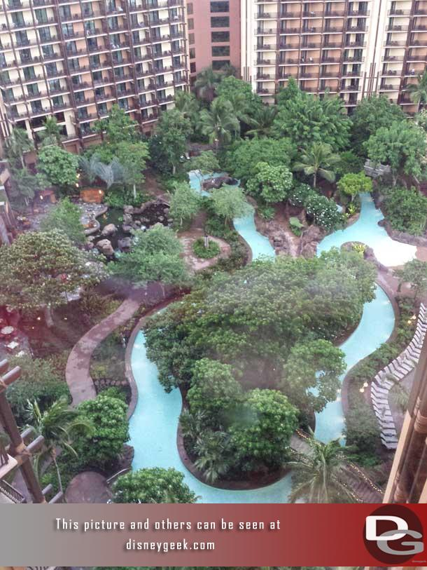 The Waikolohe Stream snakes its way through the center of the Waikolohe Valley at Aulani.  In this picture from the 16th floor you can see a good portion of the stream.