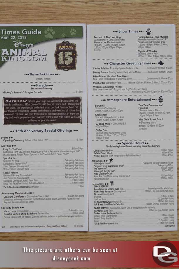 As you entered the park this morning there were special time schedules for the day (front/back pictured)