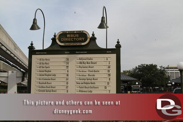 The current Magic Kingdom bus directory.  I like how they have the Contemporary walkway listed.  That was where we were heading.