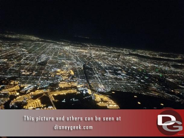 A look at the Los Angeles area as the plane turns back toward land after taking off and before I try to get some sleep. (it was 10:53pm)