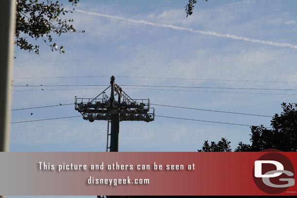 The thicker load cable looks to be run now for the Disney Skyliner on this section leading to Epcot.