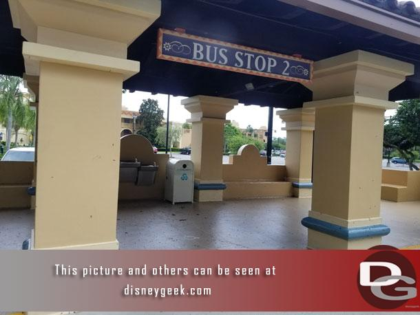 Next stop, Disney's Coronado Springs Resort.  Hard to tell in this picture but this bus stop had love bugs everywhere.